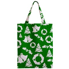 Green White Backdrop Background Card Christmas Zipper Classic Tote Bag