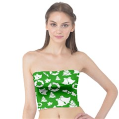 Green White Backdrop Background Card Christmas Tube Top
