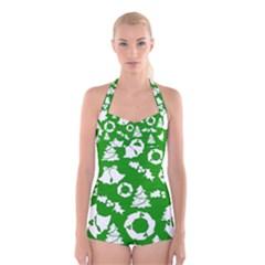Green White Backdrop Background Card Christmas Boyleg Halter Swimsuit