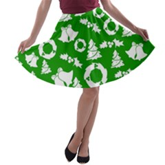 Green White Backdrop Background Card Christmas A Line Skater Skirt