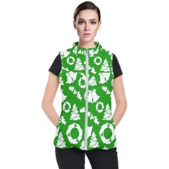 Green White Backdrop Background Card Christmas Women s Puffer Vest