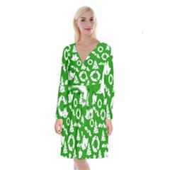 Green White Backdrop Background Card Christmas Long Sleeve Velvet Front Wrap Dress