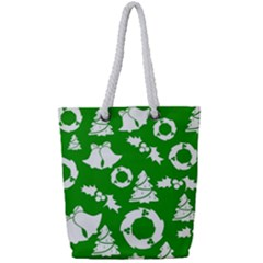 Green White Backdrop Background Card Christmas Full Print Rope Handle Bag (small)