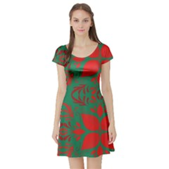 Christmas Background Short Sleeve Skater Dress