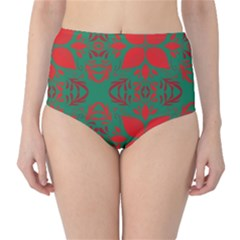 Christmas Background High Waist Bikini Bottoms