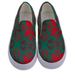 Christmas Background Kids  Canvas Slip Ons