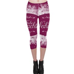 Christmas Card Red Snowflakes Capri Leggings