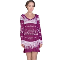 Christmas Card Red Snowflakes Long Sleeve Nightdress