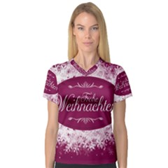 Christmas Card Red Snowflakes V Neck Sport Mesh Tee