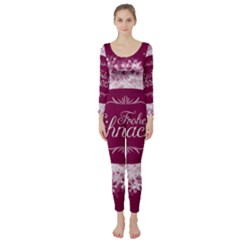 Christmas Card Red Snowflakes Long Sleeve Catsuit