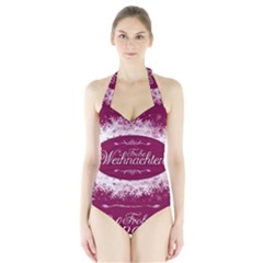 Christmas Card Red Snowflakes Halter Swimsuit