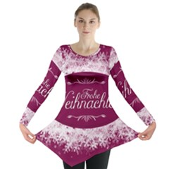 Christmas Card Red Snowflakes Long Sleeve Tunic