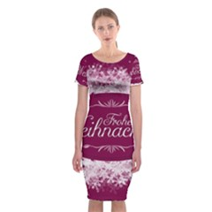Christmas Card Red Snowflakes Classic Short Sleeve Midi Dress
