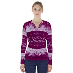 Christmas Card Red Snowflakes V Neck Long Sleeve Top