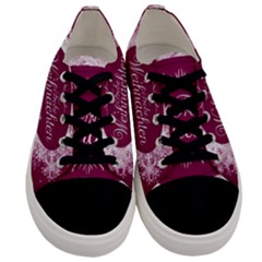 Christmas Card Red Snowflakes Men s Low Top Canvas Sneakers