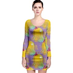 Seamless Repeat Repeating Pattern Long Sleeve Bodycon Dress