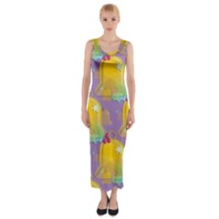 Seamless Repeat Repeating Pattern Fitted Maxi Dress