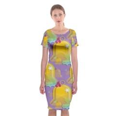Seamless Repeat Repeating Pattern Classic Short Sleeve Midi Dress