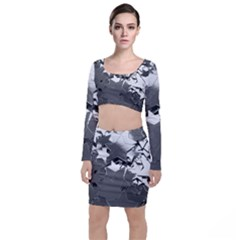 Background Celebration Christmas Long Sleeve Crop Top & Bodycon Skirt Set