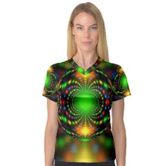 Christmas Ornament Fractal V Neck Sport Mesh Tee