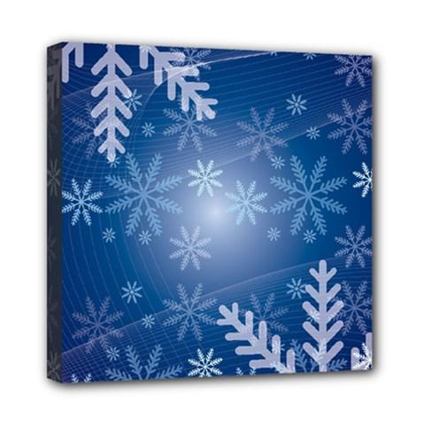 Snowflakes Background Blue Snowy Mini Canvas 8  X 8