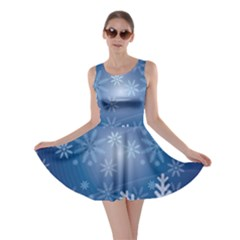 Snowflakes Background Blue Snowy Skater Dress