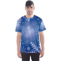 Snowflakes Background Blue Snowy Men s Sports Mesh Tee