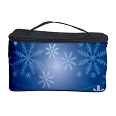 Snowflakes Background Blue Snowy Cosmetic Storage Case