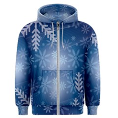 Snowflakes Background Blue Snowy Men s Zipper Hoodie