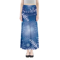 Snowflakes Background Blue Snowy Full Length Maxi Skirt