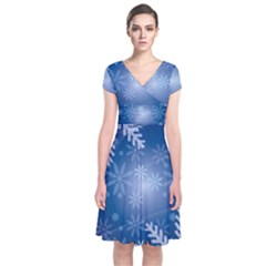 Snowflakes Background Blue Snowy Short Sleeve Front Wrap Dress