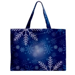Snowflakes Background Blue Snowy Medium Tote Bag