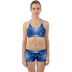 Snowflakes Background Blue Snowy Back Web Sports Bra Set