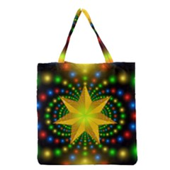 Christmas Star Fractal Symmetry Grocery Tote Bag