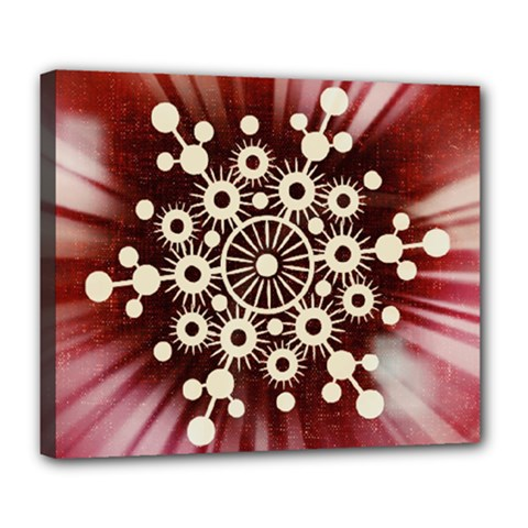 Background Star Red Abstract Deluxe Canvas 24  X 20