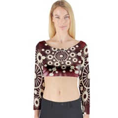 Background Star Red Abstract Long Sleeve Crop Top