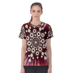 Background Star Red Abstract Women s Cotton Tee
