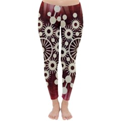 Background Star Red Abstract Classic Winter Leggings