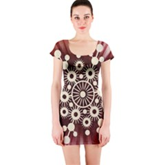 Background Star Red Abstract Short Sleeve Bodycon Dress