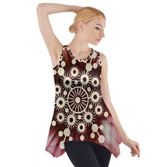 Background Star Red Abstract Side Drop Tank Tunic