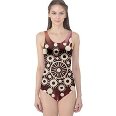 Background Star Red Abstract One Piece Swimsuit