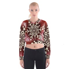 Background Star Red Abstract Cropped Sweatshirt
