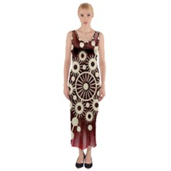 Background Star Red Abstract Fitted Maxi Dress
