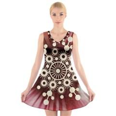 Background Star Red Abstract V Neck Sleeveless Skater Dress