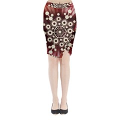 Background Star Red Abstract Midi Wrap Pencil Skirt