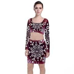 Background Star Red Abstract Long Sleeve Crop Top & Bodycon Skirt Set