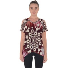 Background Star Red Abstract Cut Out Side Drop Tee