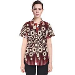 Background Star Red Abstract Women s Short Sleeve Shirt