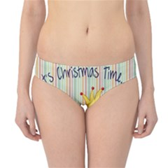 Bird Christmas Card Blue Modern Hipster Bikini Bottoms