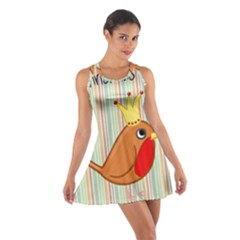 Bird Christmas Card Blue Modern Cotton Racerback Dress